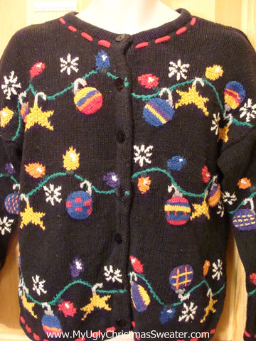 Black Colorful 2sided Funny Ugly Sweater Cardigan
