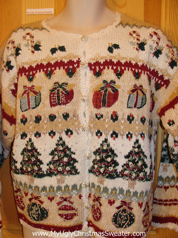 Horrible Two Sided Funny Ugly Sweater w- Candy Canes Trees Gifts