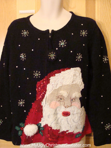 Horrible Scary Santa Funny Ugly Sweater with Bling