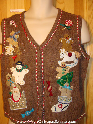 Tacky Ugly Christmas Sweater Brown Vest with Snowmen, Santa, Rocking Horse, and Gingerbread Men (f184)