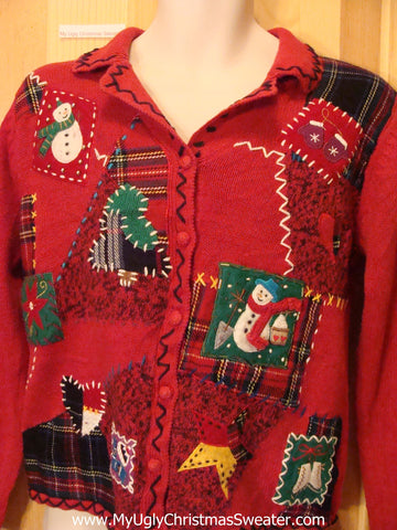 Red Crafty Patchwork Embroidered Funny Ugly Sweater
