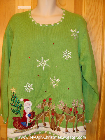 Santa and Red Nosed Reindeer Green Funny Ugly Sweater