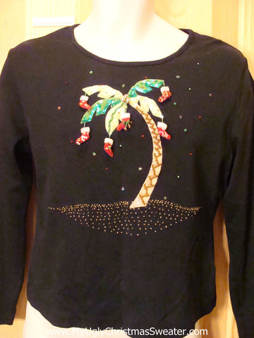 Funny Ugly Sweater Party Tshirt Tropical Palm Tree and Stockings