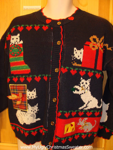 80s Two Sided Cat Themed Funny Ugly Sweater