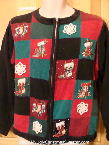 Green, Red, White, Black Funny Ugly Sweater with Stockings