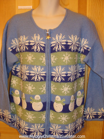 Baby Blue 2sided Snowflakes Funny Ugly Sweater