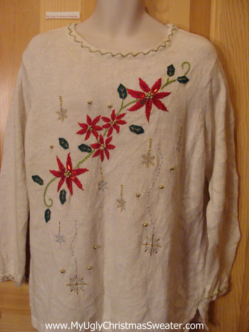 Ivory Pullover Funny Ugly Sweater with 2sided Poinsettias