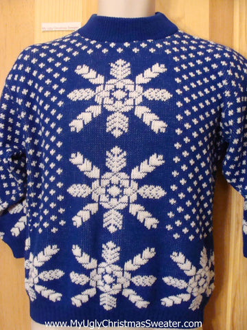 Blue 80s Huge Snowflake 2sided Funny Ugly Sweater