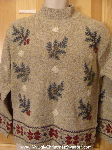Tan Pullover Two Sided Funny Ugly Sweater with Greenery