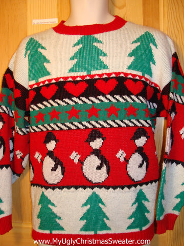 Tacky Ugly Christmas Sweater 80s 2sided Masterpiece with Bright Brilliant Trees and Penguins  (f185)
