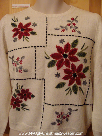 Ivory Pullover Funny Ugly Sweater with Poinsettias