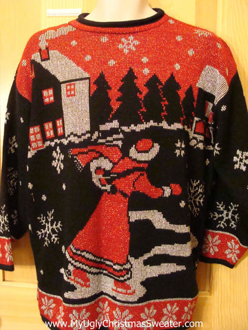 80s Huge Red Skating Lady Funny Ugly Sweater