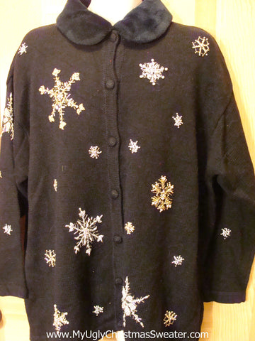 Black Funny Ugly Sweater Cardigan Furry Collar Snowflakes