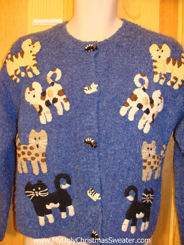 Ugly Cat Sweater with 2sided Cats and Buttons