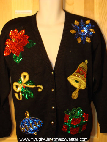 Tacky Ugly Christmas Sweater with Major Bling 80s Classic Cardigan (f186)
