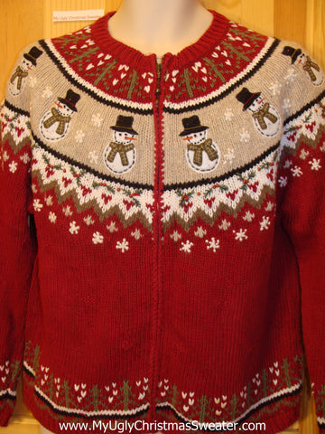 Red Funny Ugly Sweater with Nordic Snowmen 2sided