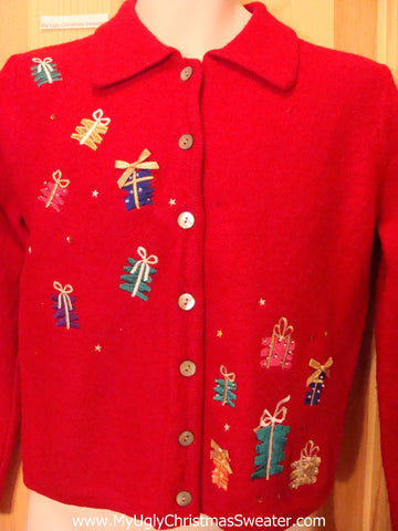 Red Floating Gifts Two Sided Funny Ugly Sweater