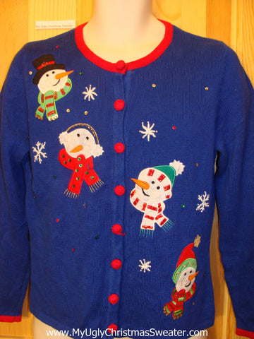 Bright Blue Funny Ugly Sweater Snowman Heads