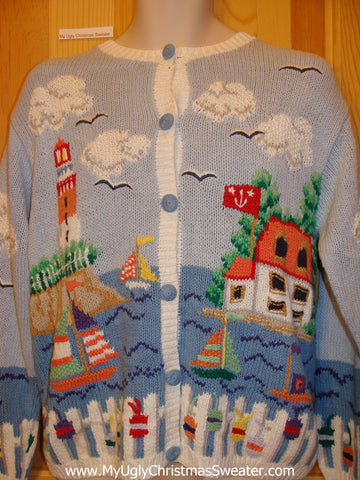 Beach Themed Funny Ugly Sweater Lighthouse