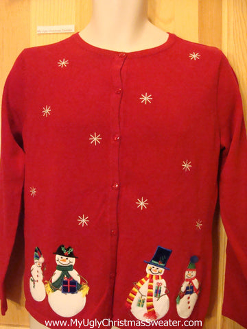 Tacky Cheap Ugly Red Sweater with Snowmen