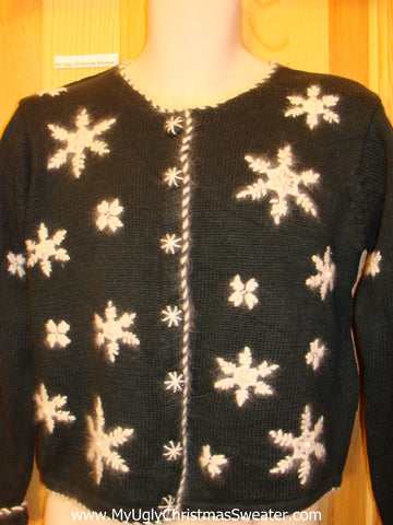 Black Funny Ugly Sweater with Furry Snowflakes
