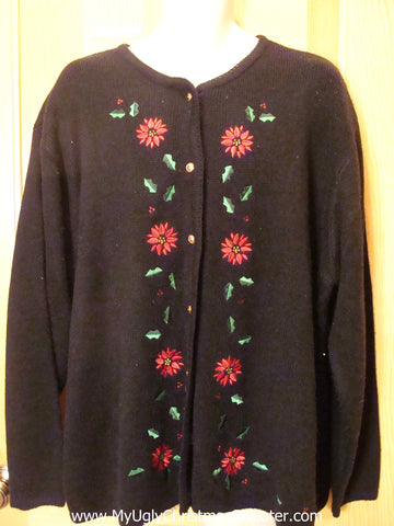 Black Funny Ugly Sweater with Poinsettias  XXXL