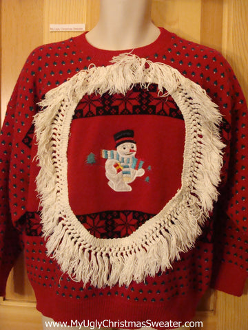 Red Funny Ugly Sweater with Snowman with Fringe 2sided