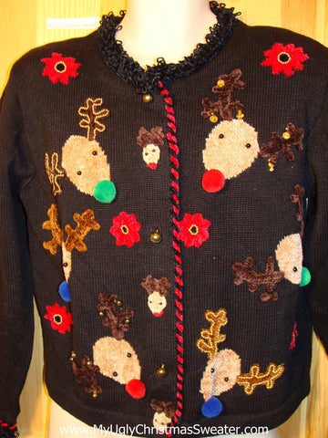 Tacky Ugly Christmas Sweater 80s Gem with Ridiculous Reindeer (f188)