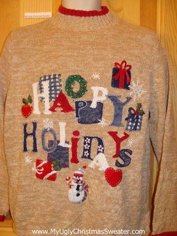 Tan Happy Holidays Festive Funny Ugly Sweater