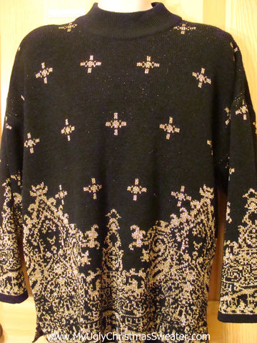 Black Bling 80s Ornate Funny Ugly Sweater