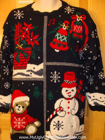 80s 2sided Funny Ugly Sweater Bear, Poinsettias, Snowflakes