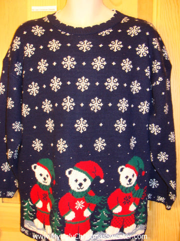 Classic 80s Acrylic Funny Ugly Sweater with Bears