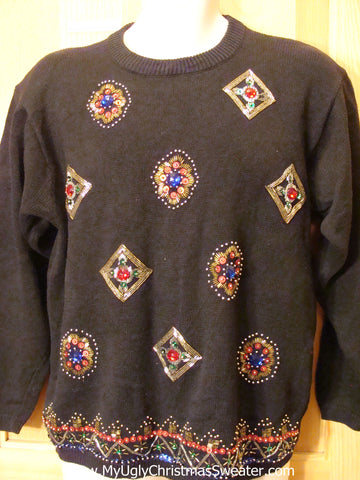 80s Style Padded Shoulders Bling Funny Ugly Sweater