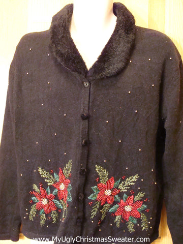 Black Poinsettia Christmas Sweater Jumper with Padded Shoulders