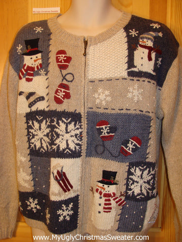 2sided Tan Christmas Sweater Jumper with Mittens, Snowflakes