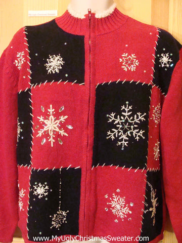 Black and Red Snowflakes Christmas Sweater