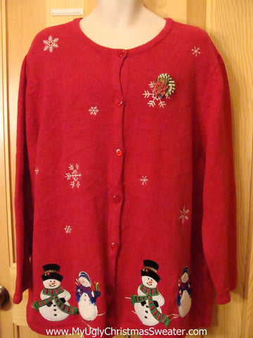 Red Snowman Themed Christmas Sweater