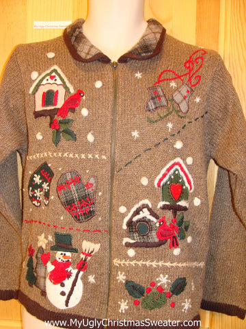 Brown Christmas Sweater Jumper with Plaid Collar