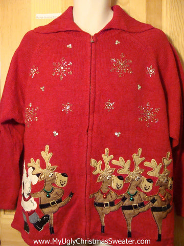 Tacky Ugly Christmas Sweater Dancing Reindeer and Santa (f190)