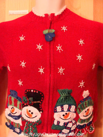 Child Red Christmas Sweater Jumper with Carrot Nosed Snowmen
