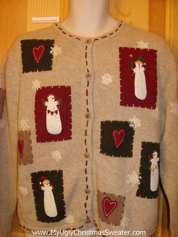 Crafty Christmas Sweater Jumper with Snowmen and Hearts