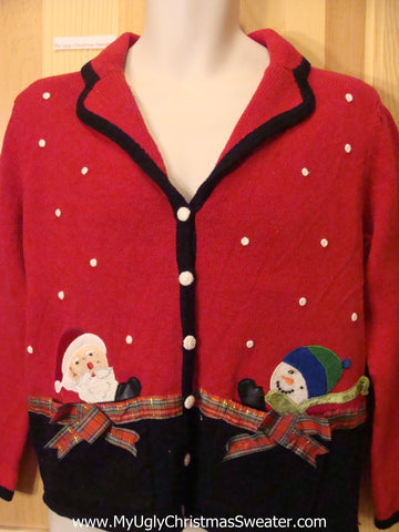 Christmas Sweater Jumper with Santa and Snowman