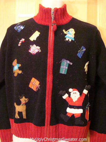 Christmas Sweater Jumper with Santa and Reindeer and Toys