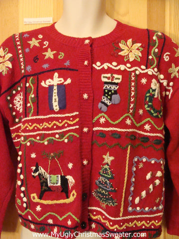 Red Nordic Style Christmas Sweater 80s