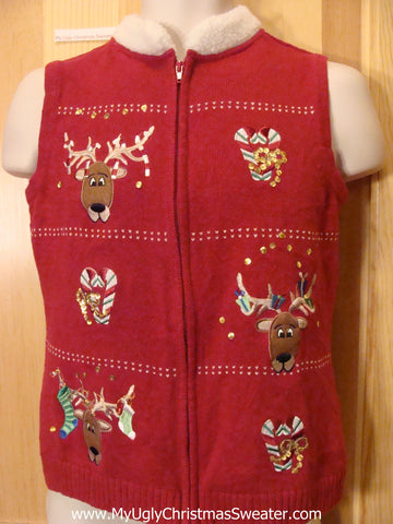 Christmas Sweater Vest with Reindeer and Furry Collar