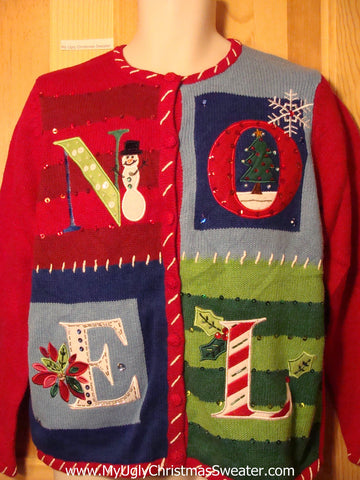 "Tacky Ugly Christmas Sweater Crafty ""NOEL"" (f191)"