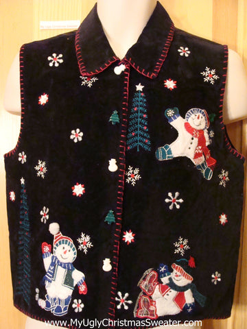 Black Velvety Christmas Vest with Snowmen