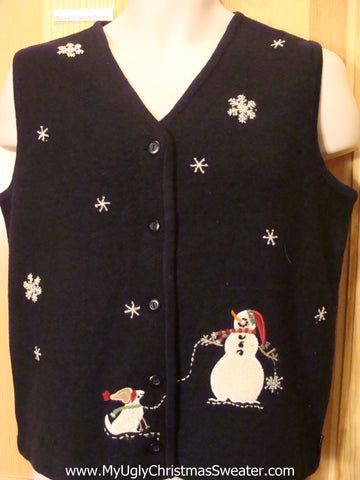 Tacky Cheap Christmas Vest with Snowman and his Snow Dog