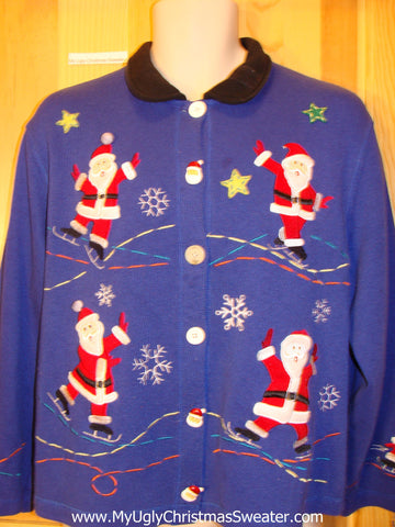 Skating Santa Blue Christmas Sweater