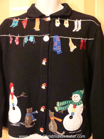 Cats and Snowmen Laundry Christmas Sweater